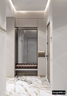 sotepeo Reduce Remodeling Stress Article Body: Aside from the monetary burdens of remodeling, there Hallway Furniture, Mirrored Furniture, Interior Stairs, Bathroom Interior, Home Room Design, Home Interior Design, Black White Bathrooms, Cool Bookshelves, Hallway Designs