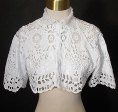 Vintage cropped broderie anglaise/lace blouse.