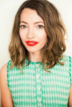 Love her hair...& lippy! http://joannagoddard.blogspot.co.uk/2014/07/three-orange-lipsticks-which-do-you.html?m=1