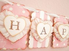 Valentine's Day Decor Banner Garland Shabby Chic by kathyjacobson, $36.00