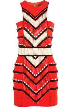 Balmain Embellished crepe mini dress   NET-A-PORTER