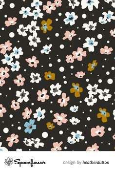 #fabric at Spoonflower. Shop your favorite indie designs on fabric, wallpaper and home decor products on Spoonflower, all printed with #eco-friendly inks and handmade in the United States. #patterndesign #textildesign #pattern #digitalprinting #littleflowers #meadow #boho #black Pattern Art, Pattern Design, Art Patterns, Stoff Design, Spoonflower, Little Flowers, Boho, All Print, Watercolor Flowers