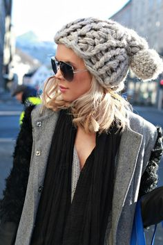 "I love the over-sized knit of this beanie! Plus, her ""too cool for school"" shades are just pullin' the whole look together."