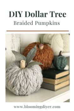 Make these easy braided decorative fall pumpkins using styrofoam pumpkins from the Dollar Tree Dollar Tree Pumpkins, Dollar Tree Crafts, Dollar Tree Fall, Diy Braids, Tree Braids, Fall Projects, Diy Projects With Yarn, Fall Home Decor, Dyi Fall Decor