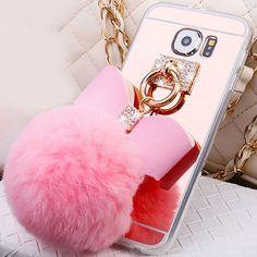 Samsung Galaxy S6/S6 Edge/S7/S7 Edge Mirror Furball Pom Pom Rabbit Case