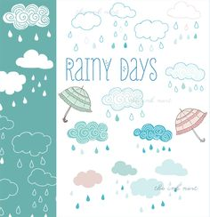CLIP ART and Photoshop Brushes - Rainy Days - for commercial and personal use
