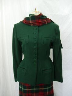 femmedelascaux:  Vintage 1940's suit jacket, skirt, and scarf, from Etsy. I CANNOT CONTAIN MY LUST.