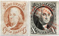 Benjamin Franklin 5-cent and George Washington 10-cent 1847 postage stamps
