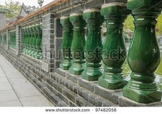 Stone fence in Chinese style along the road