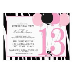 16 best 13th birthday party invitations images on pinterest 5x7 13th birthday party invite stopboris Image collections