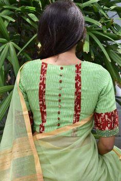Saree Envy Sale - Buy Sarees Online - Designer Sare Lehnga Designs Salwar Suit Silk Blouse Cotton Fancy Bridal Party Fashion Jewelry Green ikat blouse back Indian Blouse Designs, Blouse Back Neck Designs, Cotton Saree Blouse Designs, Simple Blouse Designs, Stylish Blouse Design, Latest Blouse Designs, Blouse Simple, Blouse Designs Catalogue, Sari Design
