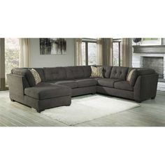 living room sofa option -3PC w/LAF Chaise- Steel N-197LC-3PC