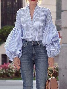Blue Plaid V-neck Puff Sleeve Chic Women Shirt – Chicfulife Blouse Styles, Blouse Designs, Ropa Upcycling, Older Women Fashion, Womens Fashion, Striped Long Sleeve Shirt, Fashion Outfits, Fashion Trends, Club Fashion