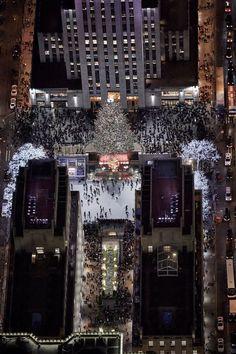 Aerial view of Rockefeller Center in New York City