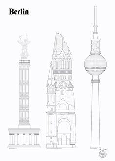 Berlin Landmarks by Studio Esinam | Poster from theposterclub.com