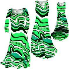 76af8859592 Fresh Green Swirls Slinky Print Plus Size   Supersize Standard A-Line Dress  2x