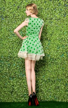 Morpheus Boutique  - Green Dots Cap Sleeve Ruffle Pleated Celebrity Dress
