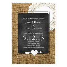 See MoreBurlap, chalkboard, and Doily Wedding InvitationThis site is will advise you where to buy