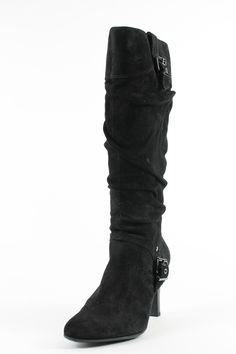 White Mountain Black Leather Golly Boots