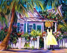 Lady with Pineapple Basket - Key West Artist Martha dePoo