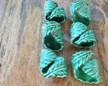 Set of six cabbage ware style napkin rings