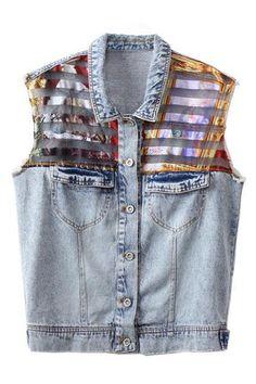 abaday | Transparent Blue Denim Vest, The Latest Street Fashion