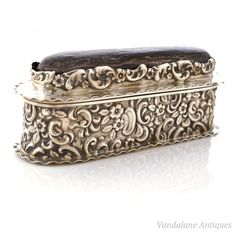Antique sterling silver repousse pin cushion trinket box needle case casket in Sterling   eBay