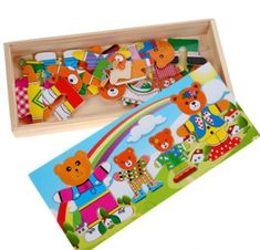 Baby Children Educational Funny Toys Bear Changing Clothes Wooden Puzzle Toys Good Gifts for Kids Jigsaw Puzzles For Kids, Wooden Jigsaw Puzzles, Educational Toys For Kids, Kids Toys, Cool Gifts For Kids, Funny Toys, Puzzle Toys, Baby Kind, Fun Baby
