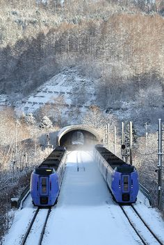 Hokkaido, Japan ~ Twin trains, double tracks. #Trains