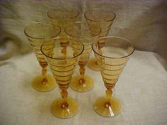 Vintage 1930's Wine Stem Lot of 6 Amber Glass Fine Rib Optic Wavy