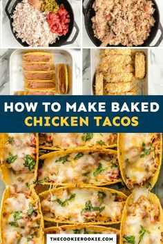 How to make the BEST baked chicken tacos (step by step recipe and video). This oven baked tacos are made for a crowd, perfect for family dinners, Cinco de Mayo, or an big gathering. #thecookierookie #tacos #chicken Best Chicken Taco Recipe, Spicy Baked Chicken, Chicken Recipes, Chicken Meals, Mexican Food Recipes, Dinner Recipes, Dinner Ideas, Mexican Dishes, Baked Tacos