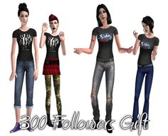 Just for you awesome people! The Shadow rock band and The Sims Bustin' Out T-shirts. This is for TF and AF and comes in the two pictured recolors. Credits: Textures by Fanseelamb. Camo Bikini, Sims 2, Good People, Outfits For Teens, Rock Bands, Two By Two, Just For You, Female, Bikinis