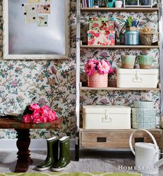 Wallpaper: Love it or hate it? We are loving this look! Decorating Tips, Interior Decorating, Homesense, Laundry Storage, Spring Blooms, Bath, Home Staging, Home Decor Items, Decoration