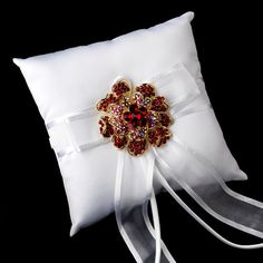 Ring Pillow with Crystal & Rhinestone Floral by MoonlitBridals, $125.99