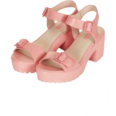 NATION Two Part Chunky Sandals ($52) ❤ liked on Polyvore featuring shoes, sandals, heels, pink, chunky heel sandals, heeled sandals, topshop shoes, topshop sandals and pink heeled shoes