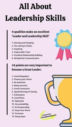 All about leadership skills. 6 qualities make an excellent leader and leadership skill such as honesty and integrity, inspiring, clarity in vision, etc. Effective Leadership Skills, Leadership Activities, Leadership Qualities, Leadership Coaching, Educational Leadership, Leadership Development, Leadership Quotes, Communication Activities, Coaching Quotes