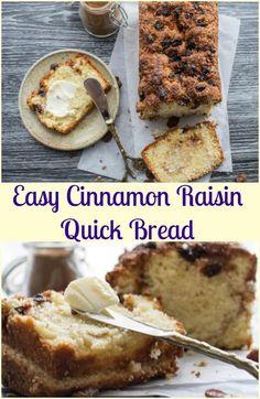 Easy Cinnamon Raisin Quick Bread, is the perfect breakfast, snack or dessert…