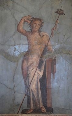 Fresco in the Fourth Pompeian Style depicting Bacchus on blue background, from the House of the Mosaic Atrium in Herculaneum, AD, Empire of colour. From Pompeii to Southern Gaul, Musée Saint-Raymond Toulouse Ancient Pompeii, Pompeii And Herculaneum, Ancient Art, Ancient Greek, Saint Raymond, Rome Painting, Roman Artifacts, Pompeii Italy, Roman City