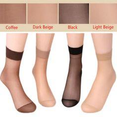 Newly Design 10 Pairs Women's Socks Crystal Thin Transparent Thin Silk Socks#D