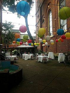 Courtyard fun Summer Nights, Table Decorations, Weddings, Green, Fun, Furniture, Home Decor, Decoration Home, Room Decor