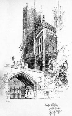 Herbert Railton - Bridge and Porch of Middle Temple Library