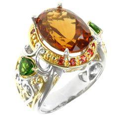 Michael Valitutti Two-tone Madiera Citrine, Chrome Diopside and Orange Sapphire Ring
