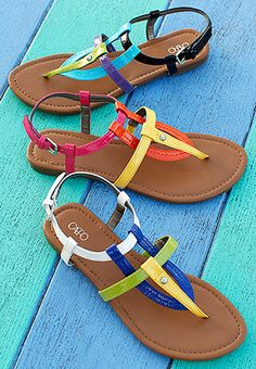 color block flat sandals from Cato. So cute!!!