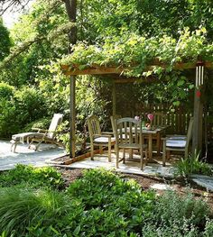 Plant pergola - which climbing plants are suitable? Plant pergola - which climbing plants are suitable? Whilst early with thought, the particular pergola may be having a modern-day renaissance these days. A stylish out of doors animal shelter. Garden Nook, Garden Cottage, Cacti Garden, Garden Living, Cozy Cottage, Garden Art, Terrace Garden, Pergola Patio, Backyard Landscaping