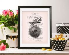 Bird Nest Handwriting calligraphy 8x10 On the Pink Background & Black ClipArt Antique Printable Image DIGITAL INSTANT DOWNLOAD HQ300dpi by ZikkiArt on Etsy