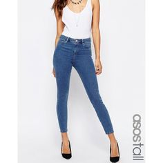 ASOS TALL Ridley Skinny Jeans In Lilyanna Pretty Midwash (€41) ❤ liked on Polyvore featuring jeans, blue, super skinny jeans, skinny jeans, blue jeans, white high waisted jeans and high waisted jeans