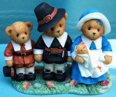 Cherished Teddies Figurine Thanksgiving Pilgrim Bear Family FAITH ... FATHERS