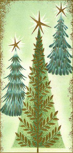 Christmas Tree Vintage Christmas Card
