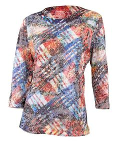 Another great find on #zulily! White & Blue Abstract Tartan Crewneck Top - Women #zulilyfinds