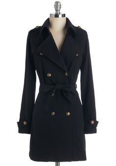 Wrapped in a Classic Coat - Long, Knit, 2, Black, Buttons, Epaulets, Pockets, Belted, Military, Double Breasted, Long Sleeve, Fall, Winter